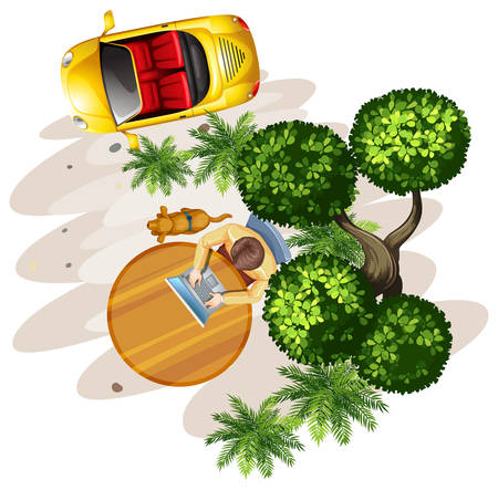 A topview of a table with a man, a tree and a vehicle on a white background Vector