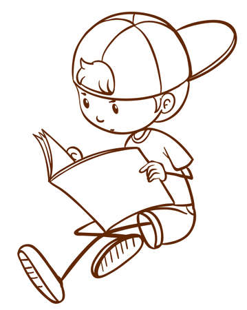 sketch child: A plain drawing of a young boy reading on a white background Illustration