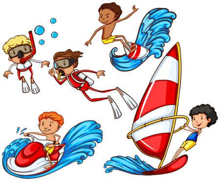 moto acuatica: Un dibujo de un grupo de gente haciendo deportes acuáticos en un fondo blanco Vectores