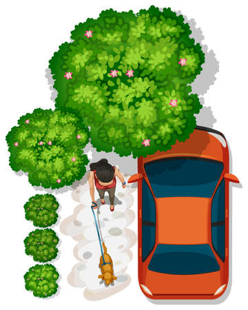 birdseye view: A topview of a girl at the park near the orange vehicle on a white background Illustration