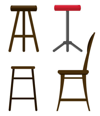 stools: Illustration of different kind of chairs Illustration