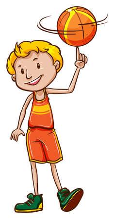 spinning: Illustration of a boy spinning a ball