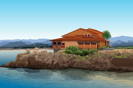 ocean view: Illustration of a house with an ocean view