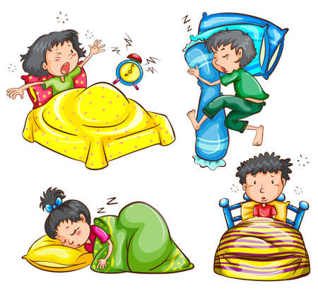 up time: Illustration of children sleeping and waking up