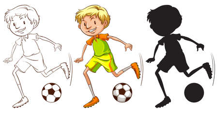 football shoes: Illustration of a boy playing football Illustration