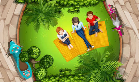 top: Illustration of people picnicing in a park Illustration