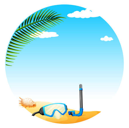 palm tree isolated: Illustration of a view of a beautiful beach Illustration