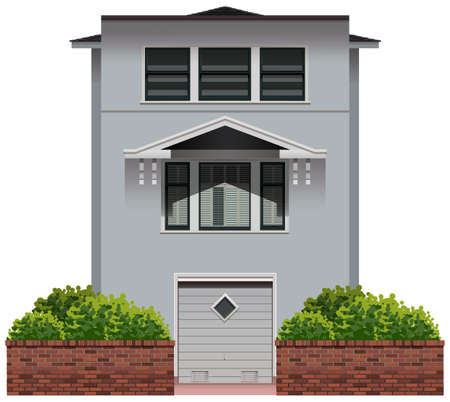 architect drawing: Illustration of a single grey house
