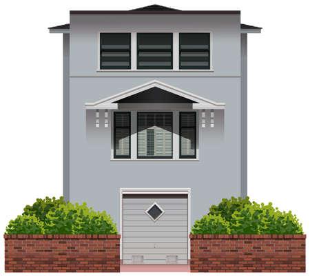 arquitecto caricatura: Ilustraci�n de una sola casa gris