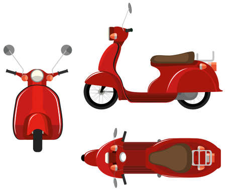 front angle: Illustration of a close up scooter with different view point