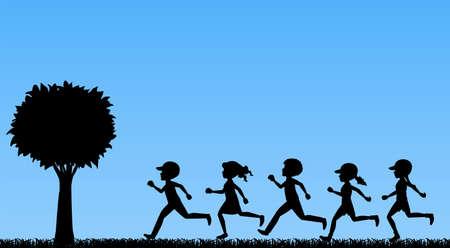 sillhouette: Illustration of children running in a park Illustration