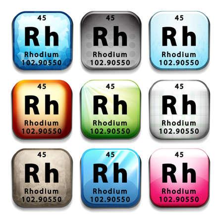 Illustration of an element rhodium