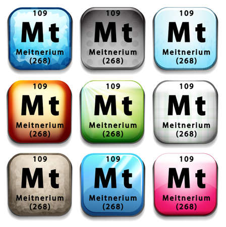 subatomic: Illustration of a periodic symbol of a meitnerium Illustration