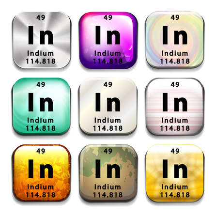 indium: Illustration of a periodic symbol of an element indium Illustration