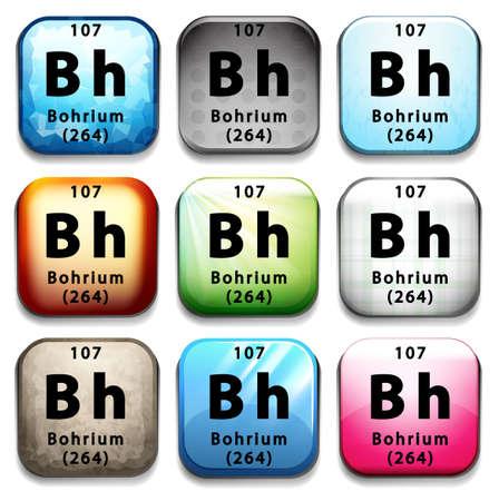subatomic: Illustration of a periodic symbol of an element bohrium