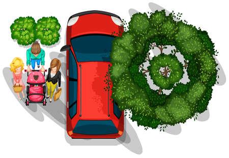 bovenaanzicht plant: Een bovenaanzicht van mensen wandelen naast het voertuig op een witte achtergrond Stock Illustratie