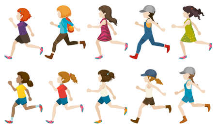 ten empty: A group of faceless kids running on a white background