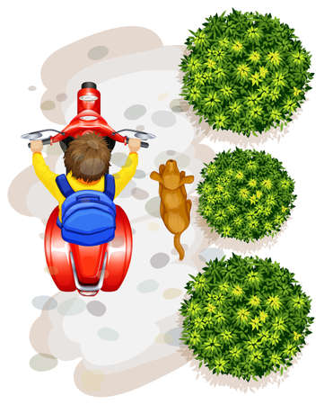 A topview of a boy riding a motorcyle on a white background Illustration
