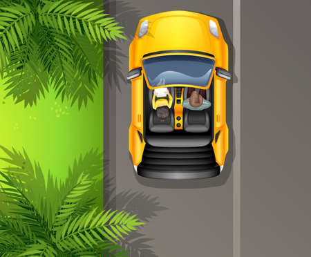 top down: A topview of a running vehicle Illustration