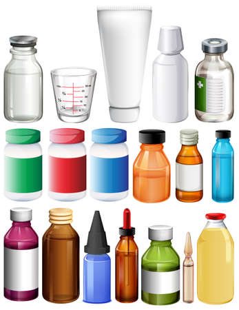 bottle cap: Set of medical containers on a white background