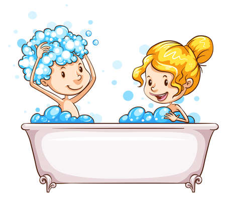 regimen: A drawing of a girl and a boy at the bathtub on a white background