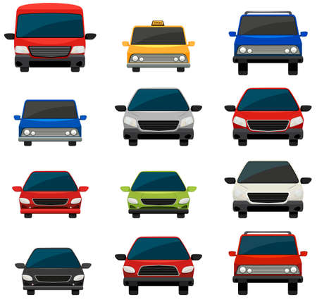 tinted: Set of tinted vehicles on a white background Illustration