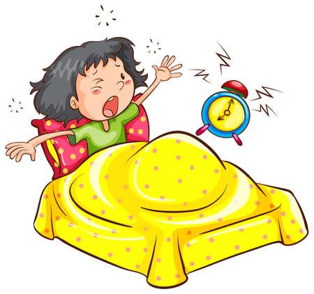 despertarse: Un dibujo de una ni�a de despertarse con una alarma sobre un fondo blanco Vectores