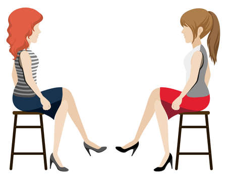 Faceless girls facing each other on a white background Vector