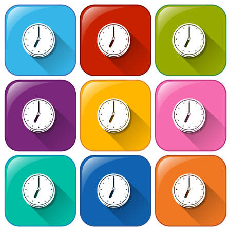 freestanding: Colourful buttons with clocks on a white background