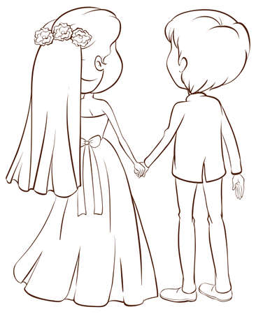 Back view of a couple in a wedding ceremony