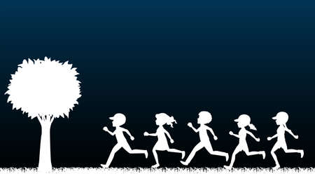 children running: Illustration of children running in the dark