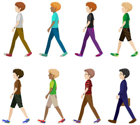 white pants: Faceless men in walking pose Illustration