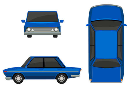 top down car: Flashcard of a car from three side views