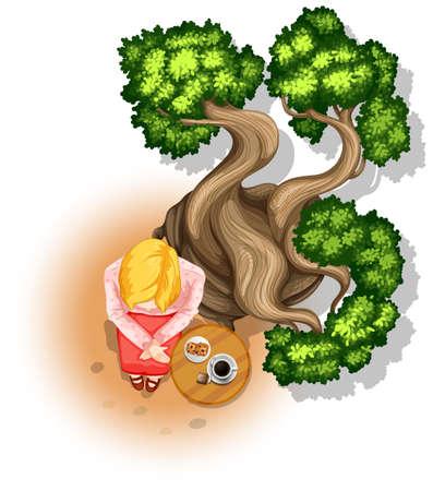 Illustration of a woman having tea under the tree Vector