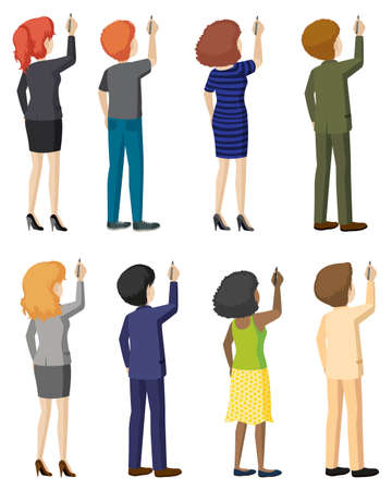 Set of faceless men and women in writing pose Vector