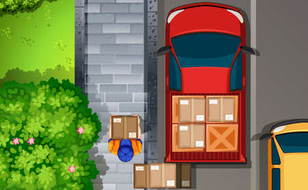 window view: Illustration of a delivery man walking by the truck Illustration