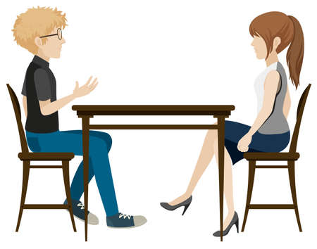 dinning table: Illustration of a couple  sitting at the table