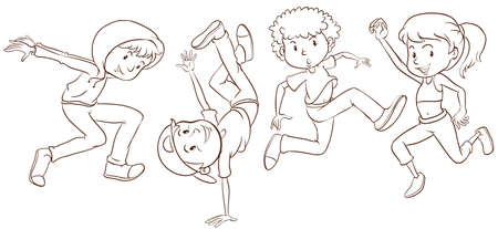 Illustration of teenagers dancing Illustration