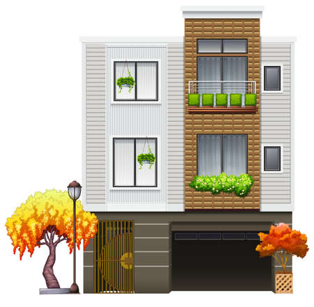 accomodation: Side view of a two storeys house