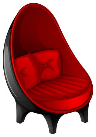 Single black and red modern look chair Vector