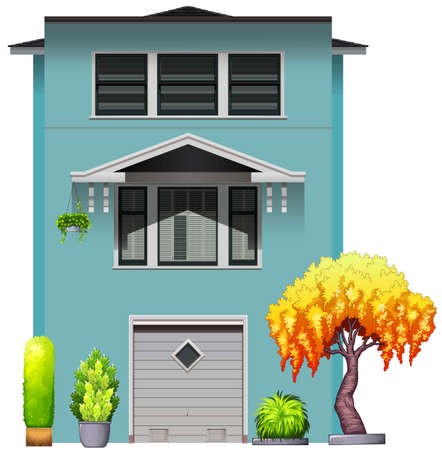 accomodation: Side view of a house with parking garage Illustration