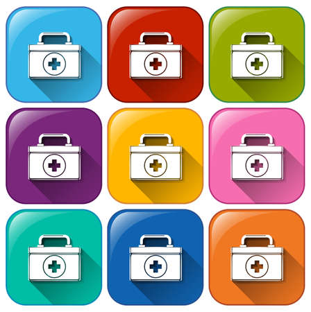 first aid box: Set of first aid box icons on different color background