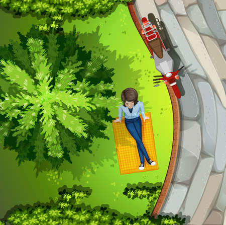 birdseye view: Illustration of a woman sitting in the park