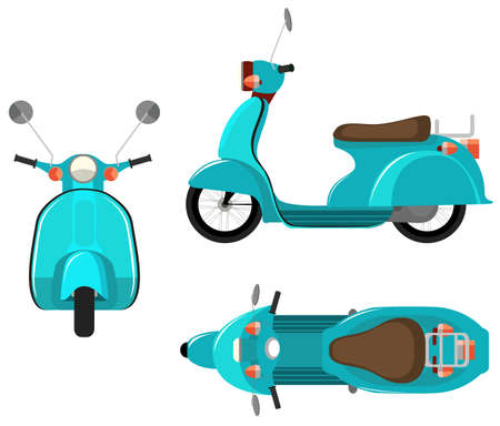 front view: Flashcard of scooter from three side view