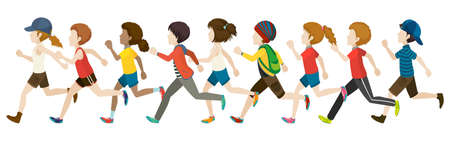 Flashcard of faceless kids in running pose