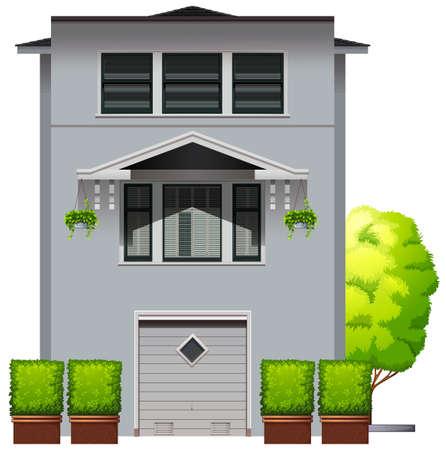 accomodation: Side view of a modern design house Illustration
