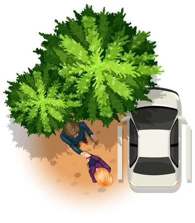 arbre vue dessus: Vue de dessus de deux personnes debout près d'une voiture