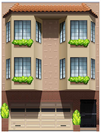 accomodation: Side view of a modern design house Illustration