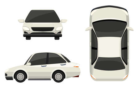 top down car: Illustration of a white car in different view