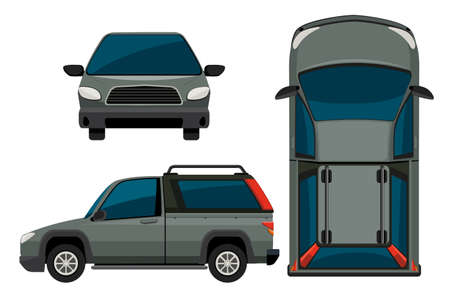 top down: Illustration of a pickup truck in different view
